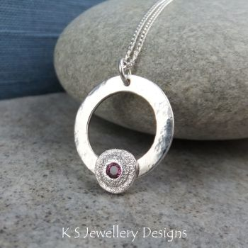 Rhodolite Garnet Rustic Circle Sterling and Fine Silver Pendant