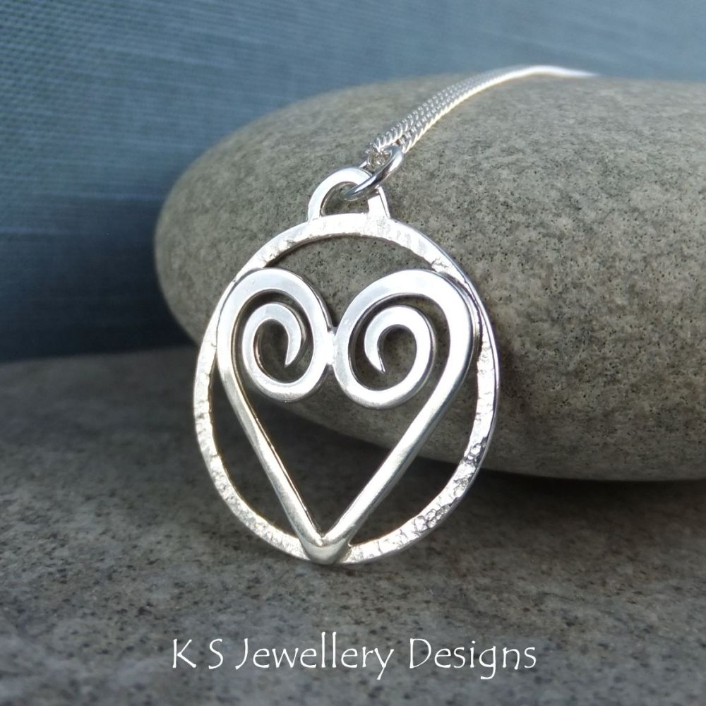 Heart & Textured Circle Sterling Silver Pendant