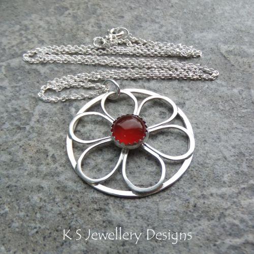 Carnelian Flower Circle Sterling Silver Pendant