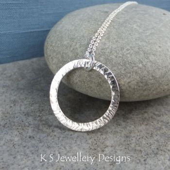 Starburst Circle Sterling Silver Pendant - Hammered & Textured