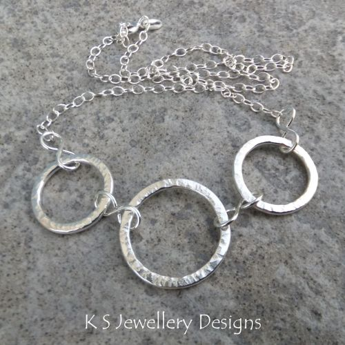 Starburst Circles Sterling Silver Necklace - Textured & Shiny