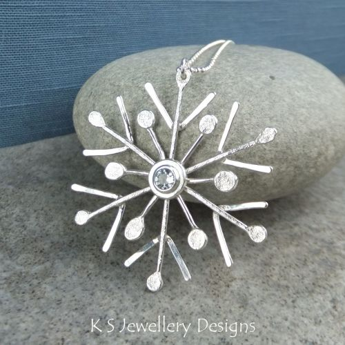 White Topaz Sterling Silver Snowflake Pendant