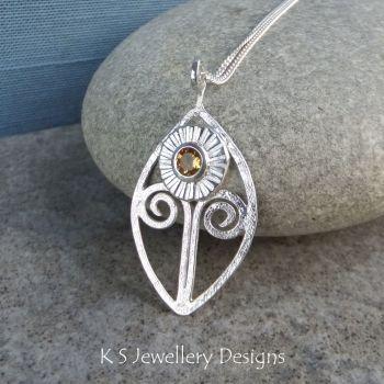 Citrine Daisy Flower Sterling Silver Leaf Frame Pendant