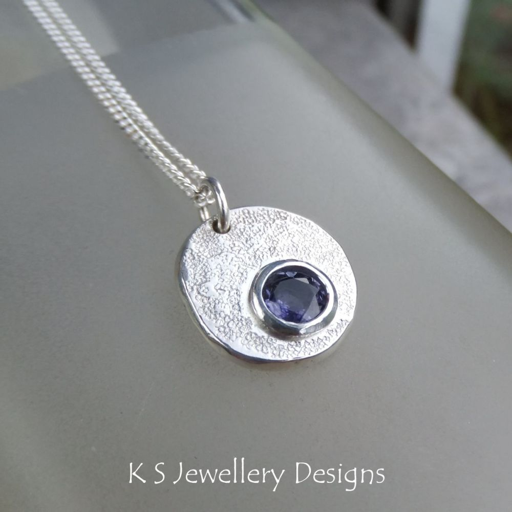 Iolite Sterling Silver Pebble Pendant - Rustic and Textured
