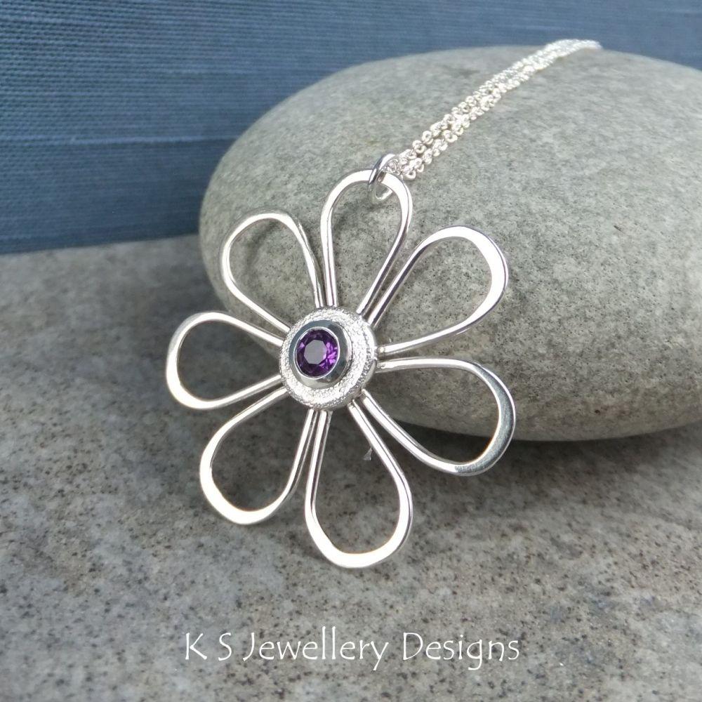 Amethyst Daisy - Sterling Silver Wire Flower Pendant