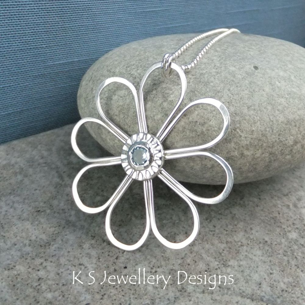 Blue Topaz Daisy - Sterling Silver Wire Flower Pendant