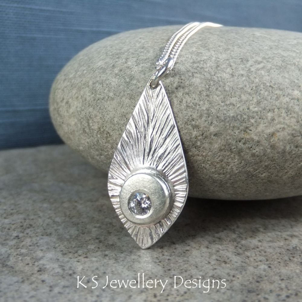 Cubic Zirconia Feather Textured Sterling Silver Drop Pendant - CZ