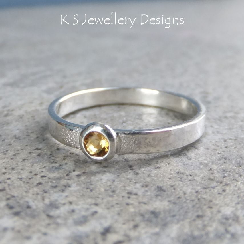 Citrine Sterling Silver Ring - Sparkling & Textured (UK size Q / US size 8.25)