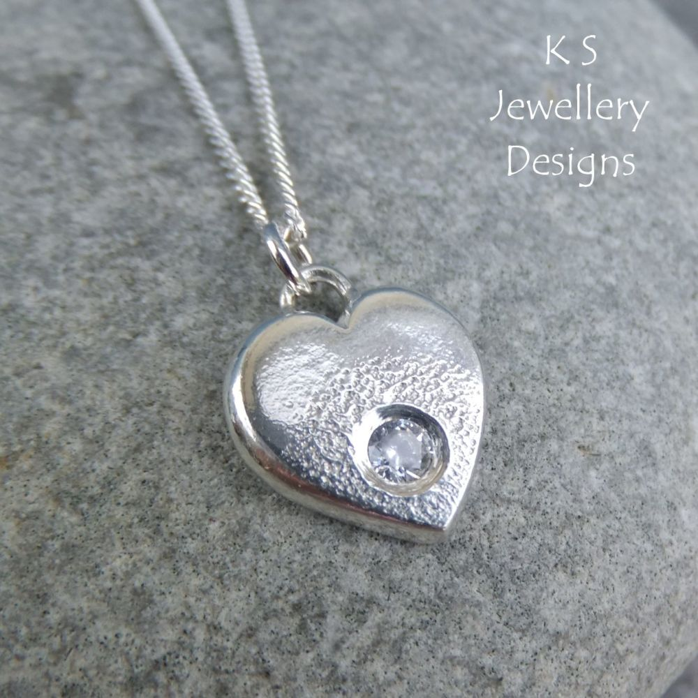 Cubic Zirconia Sterling Silver Heart Pendant - Rustic and Textured