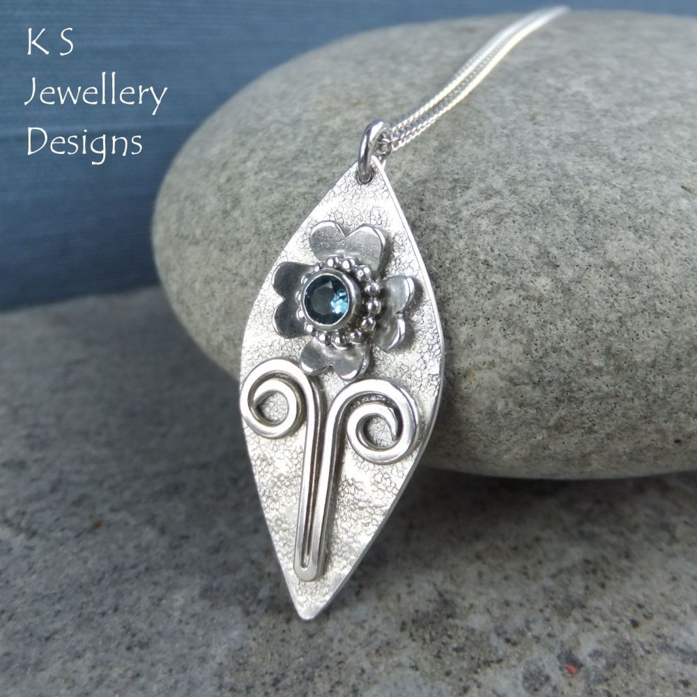 London Blue Topaz Flower & Textured Leaf Drop Sterling Silver Pendant
