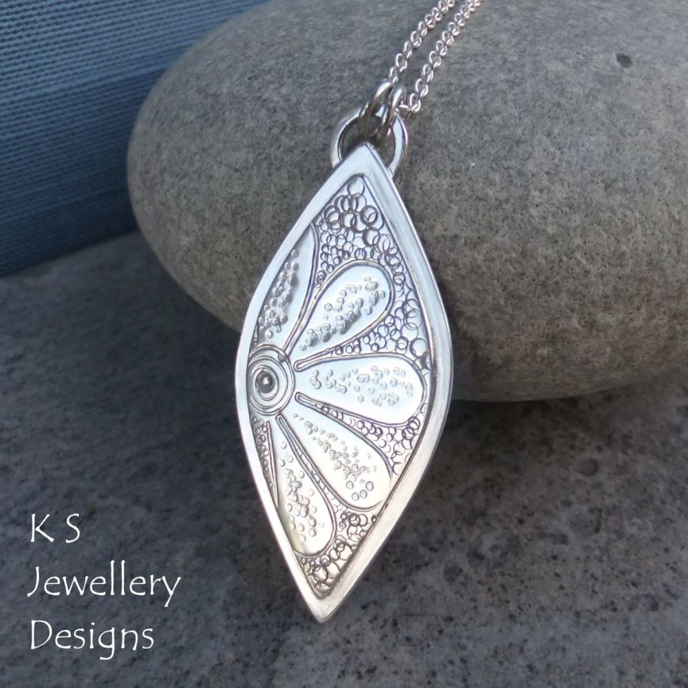 Doodle Flower Textured Drop Sterling Silver Pendant - DAISY v1