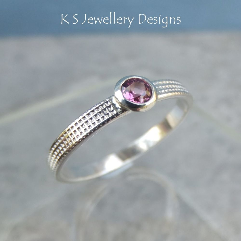 Rhodolite Garnet Sterling Silver Ring - Sparkling & Textured (UK size P 1/2