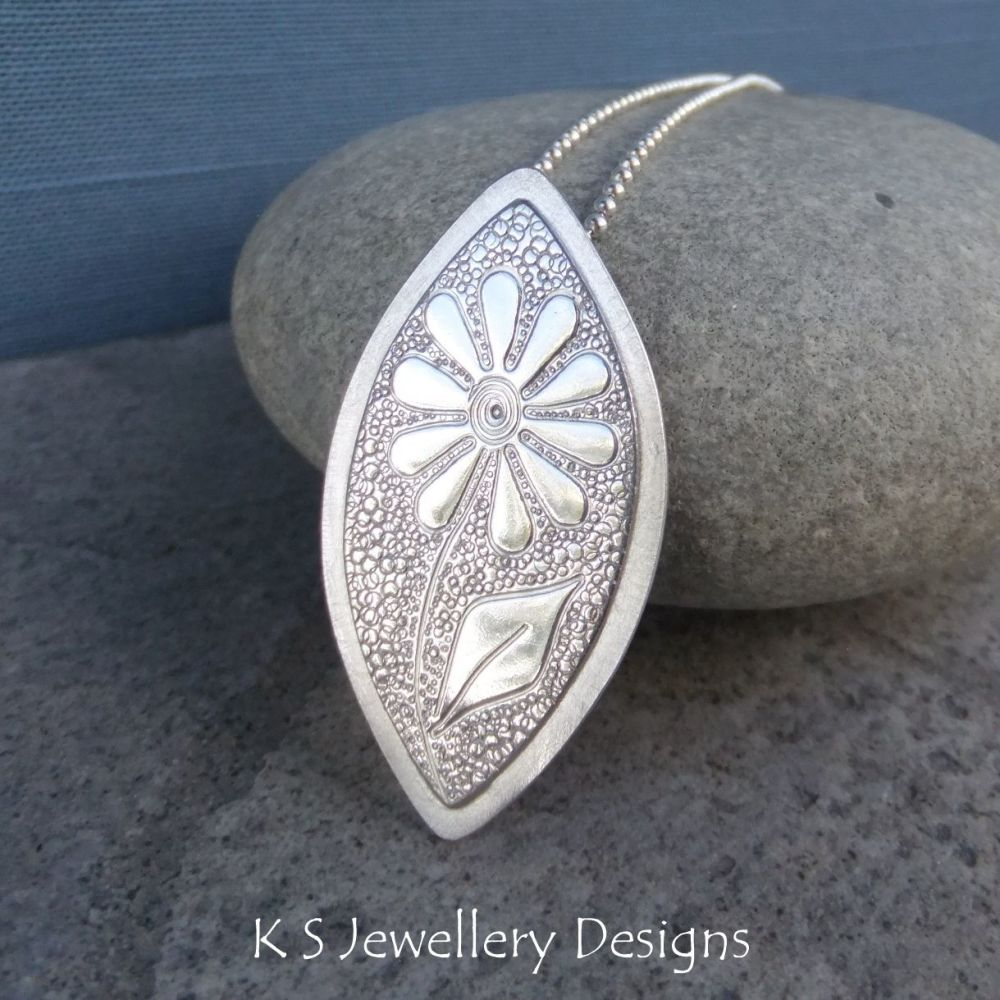 Doodle Flower Textured Drop Sterling Silver Pendant - DAISY v3