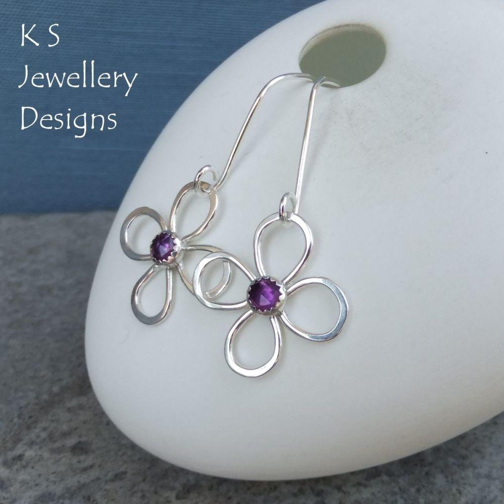 Amethyst Four Petal Wire Flowers - Sterling Silver Dangly Gemstone Flower Earrings