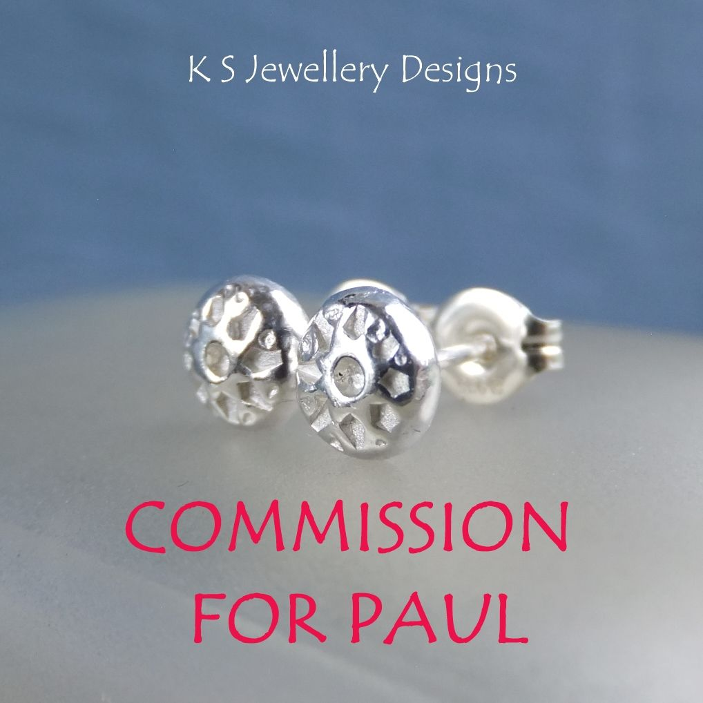 COMMISSION FOR PAUL - Flower Textured Pebbles Stud Earrings #8 - Sterling Silver Studs