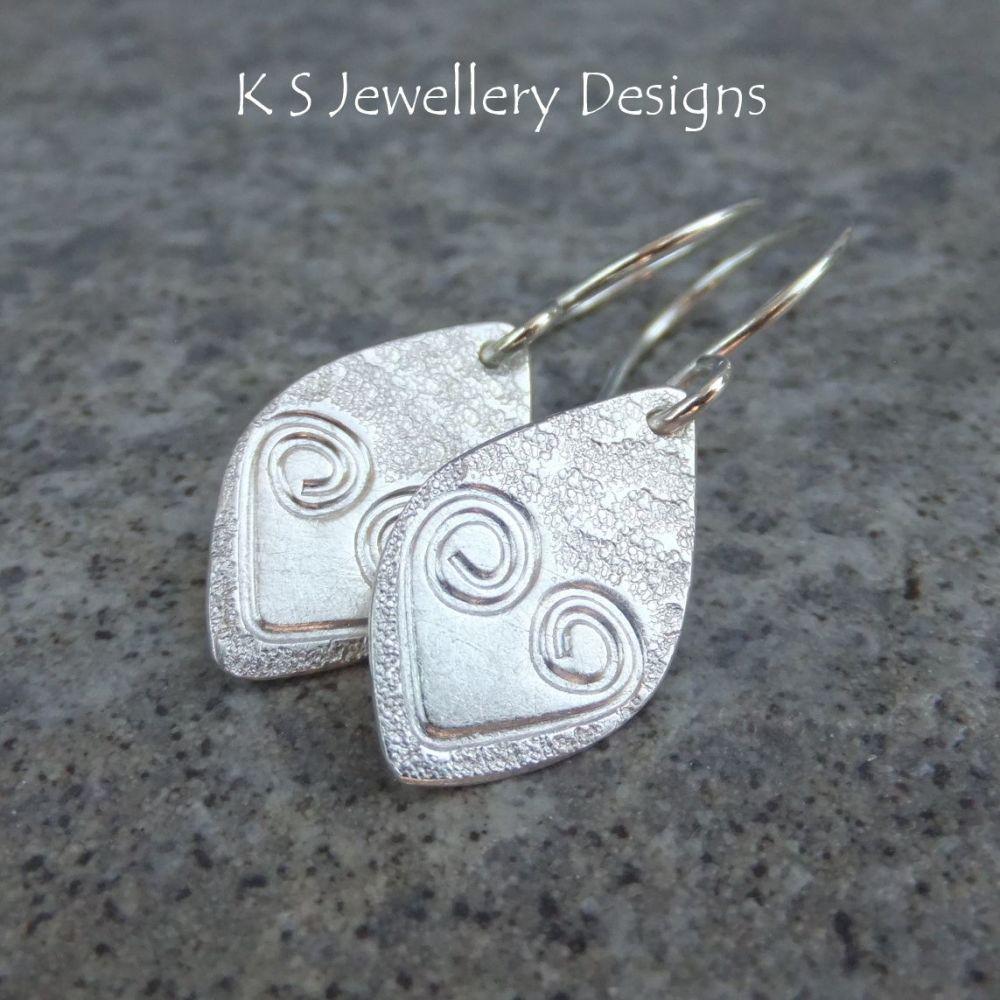 Textured Heart Drops - Sterling Silver Earrings