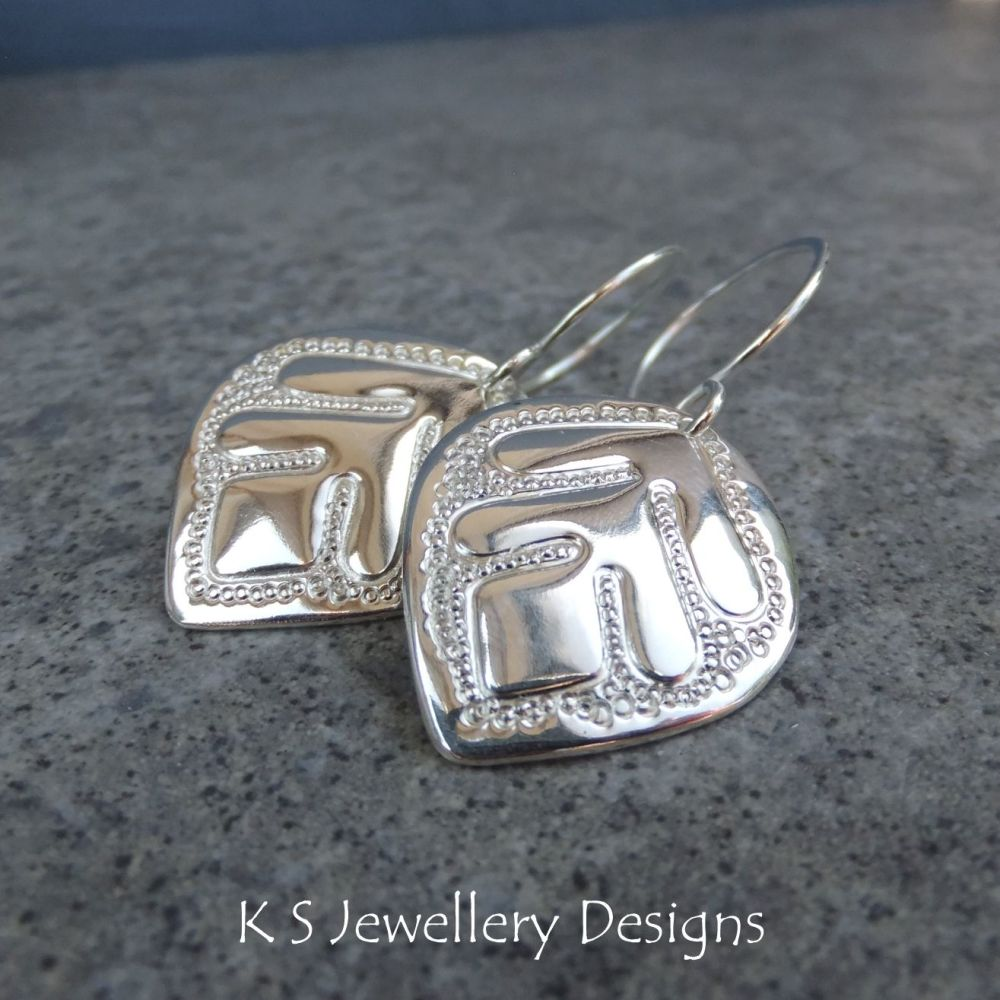 Doodle Leaf Drops V1 - Sterling Silver Leaves Earrings