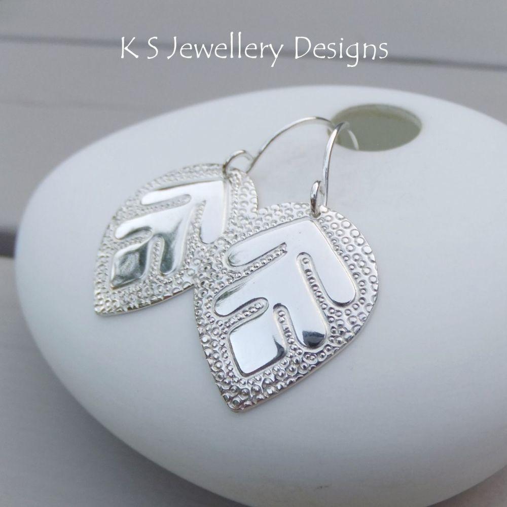 Doodle Leaf Drops V2 - Sterling Silver Leaves Earrings