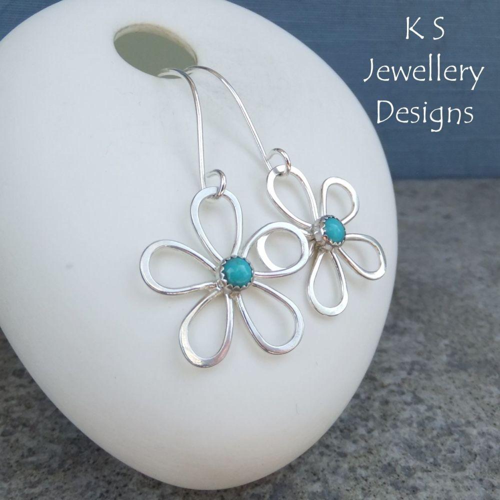 Turquoise Wire Daisy Flowers - Sterling Silver Dangly Gemstone Flower Earrings