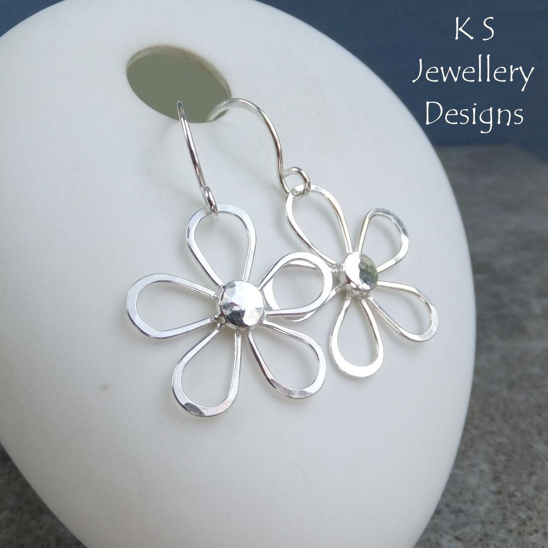 Sterling Silver Wire Daisy Flowers - Dangly Gemstone Flower Earrings