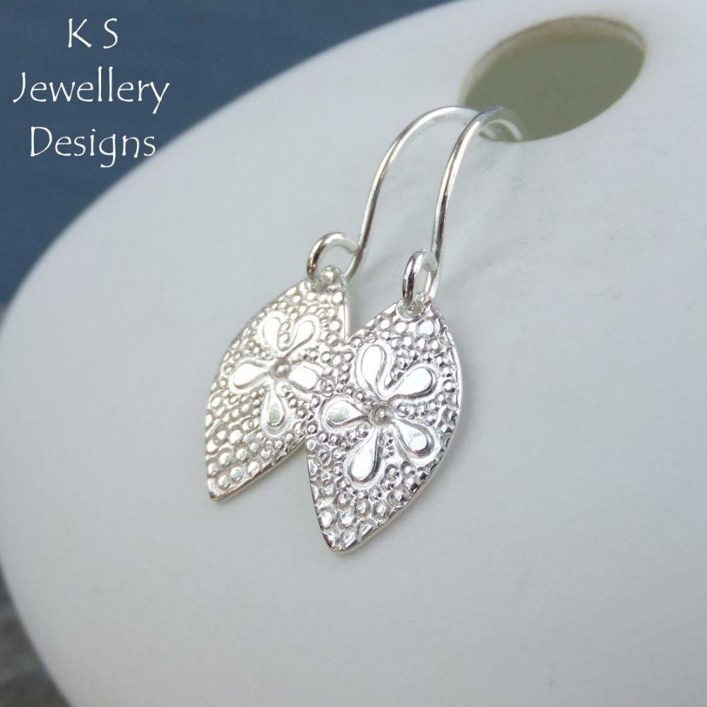 Daisy Flower Drops - Sterling Silver Earrings