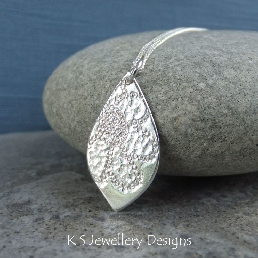 Lace Flower Textured Drop Sterling Silver Pendant
