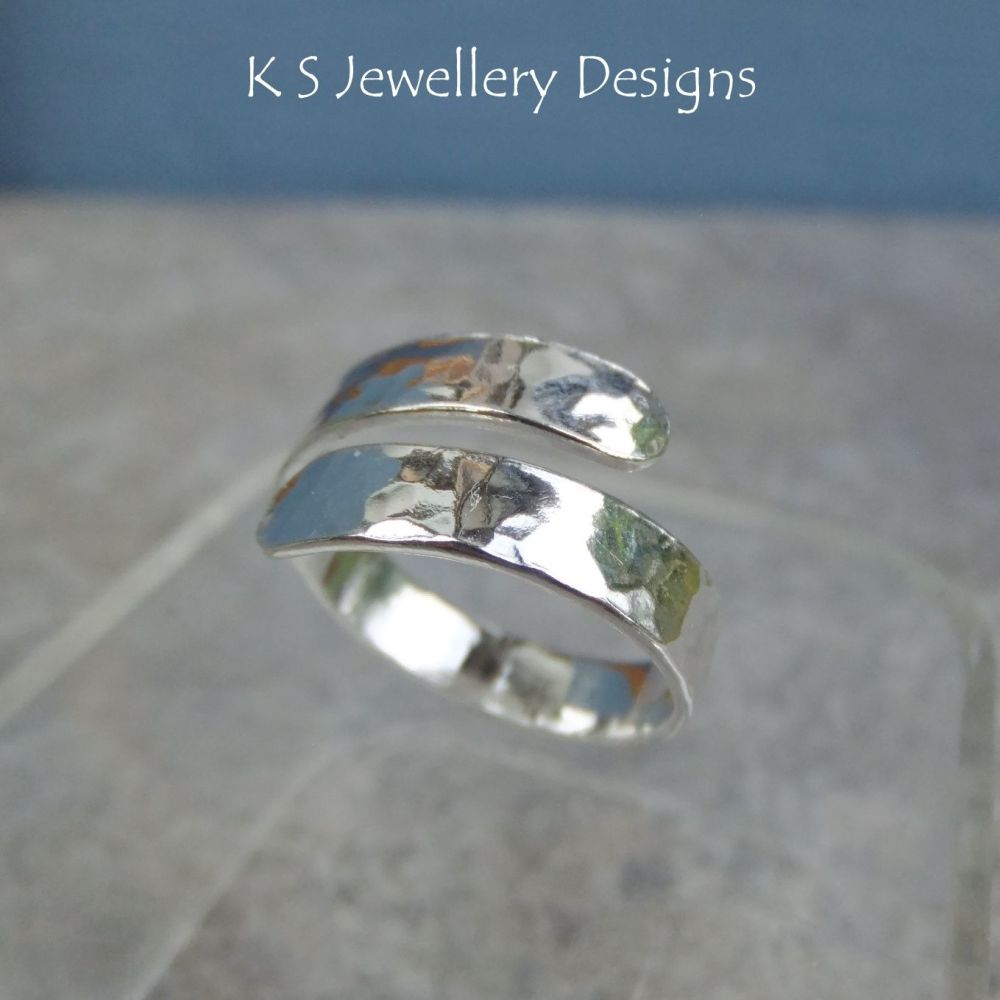 Wraparound Sterling Silver Wide Band Ring - DAPPLED (UK size P / US size 7.