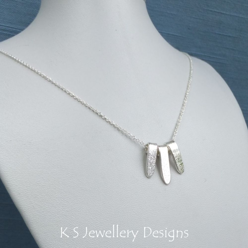 Textured Drop Trio - Sterling Silver Necklace