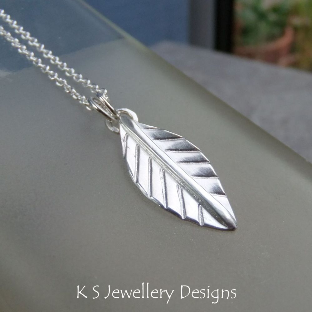 Shiny Leaf Sterling Silver Pendant