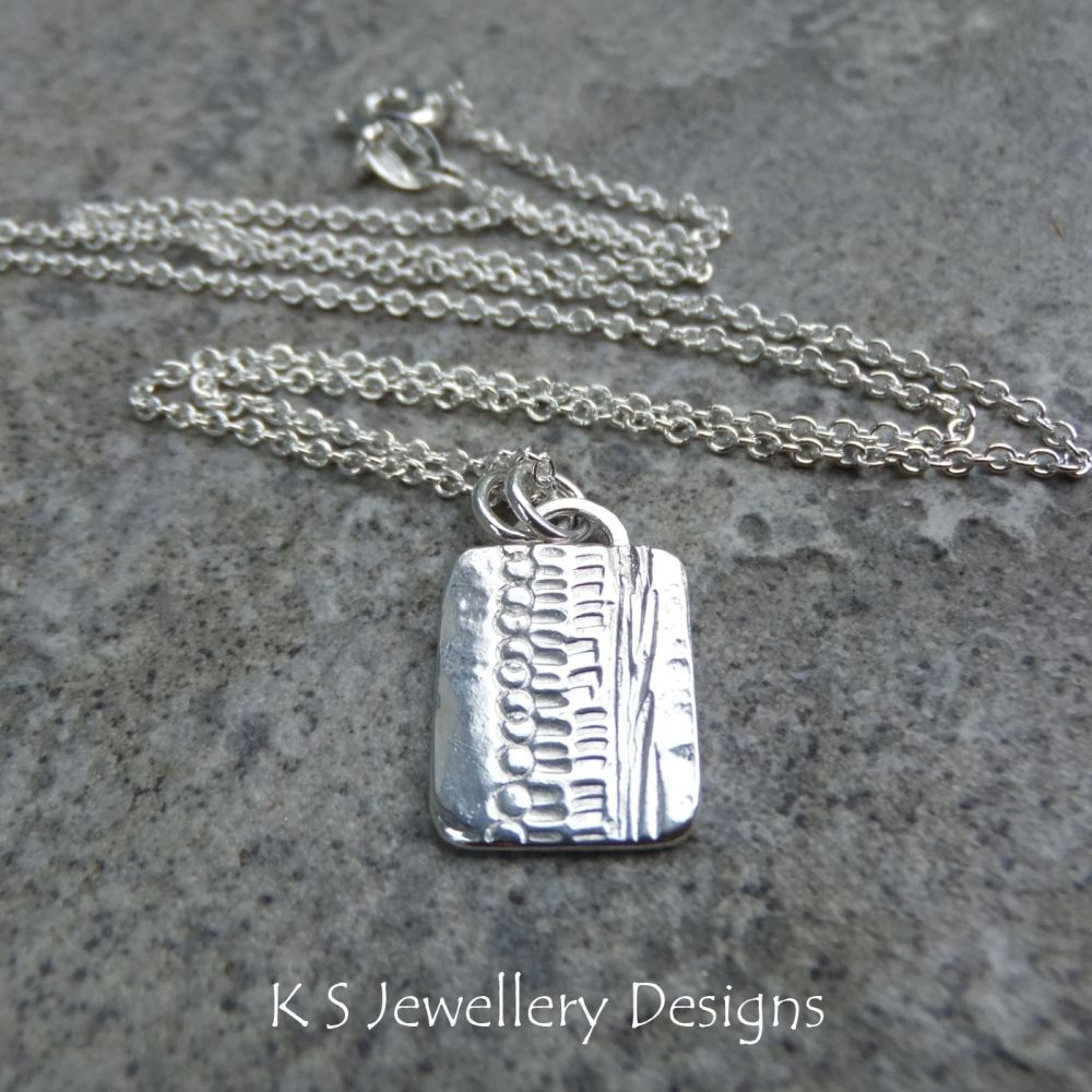 Shoreline Textured Rectangular Sterling Silver Pendant