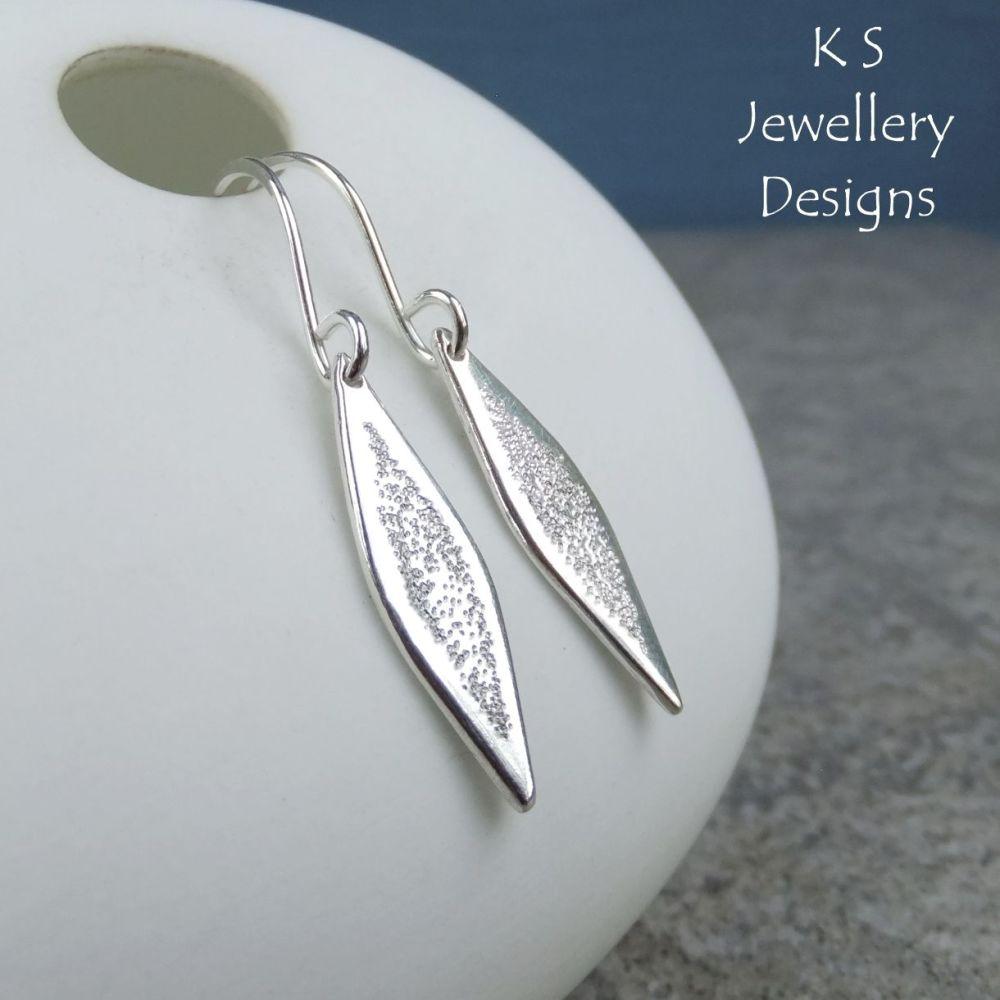 Sterling Silver Long Drop Earrings - Shiny Dangly