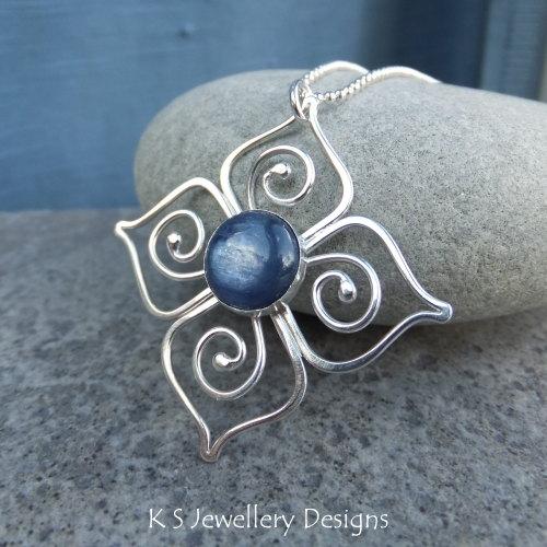 Kyanite Sterling Silver Flower Pendant - Swirl Blossom