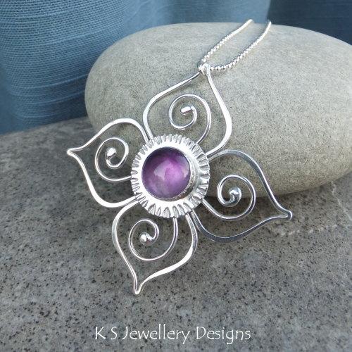 Amethyst Sterling Silver Flower Pendant - Swirl Blossom