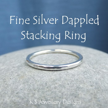 Fine Silver Stacking 1.5mm Ring - DAPPLED (made to order)
