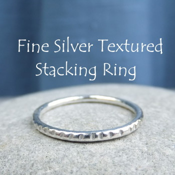 Fine Silver Stacking 1.5mm Ring - TEXTURED (made to order)