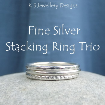 Fine Silver Stacking 1.5mm Ring Trio - DAPPLED, SMOOTH & TEXTURED (made to order)