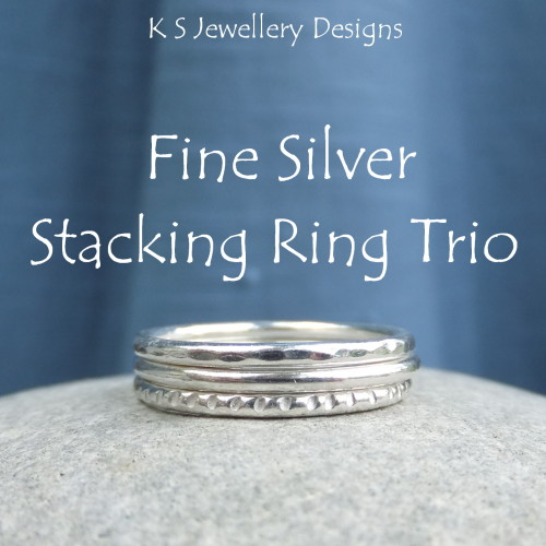 Fine Silver Stacking Ring Trio - DAPPLED, SMOOTH & TEXTURED