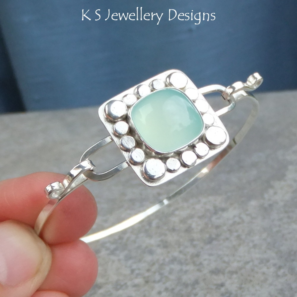 Aqua Chalcedony Pebble Frame Sterling Silver Bangle