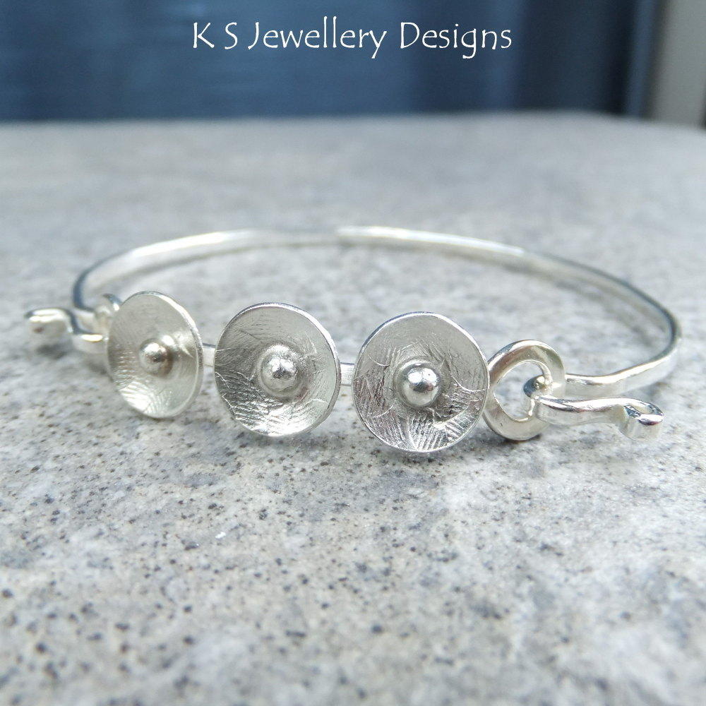 CUSTOM ORDER FOR CLAIR - Sterling Silver Bangle - Rustic Disc Trio