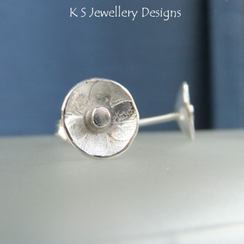 Sterling Silver Stud Earrings - Rustic Flower Discs (6 petals)
