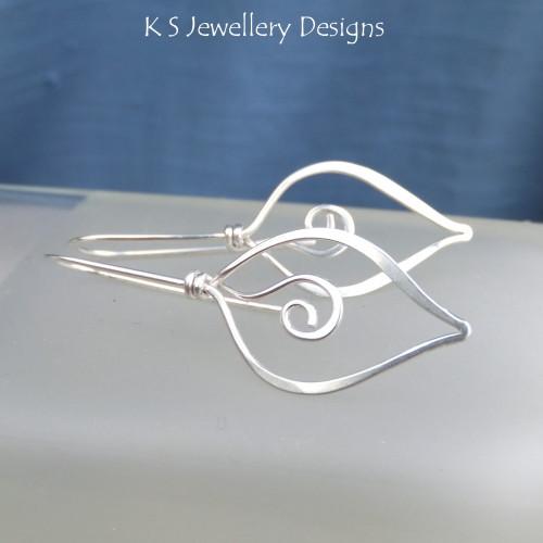 Sterling Silver Swirl Leaf Earrings