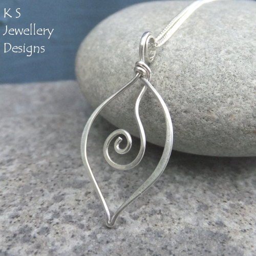 Sterling Silver Swirl Leaf Pendant