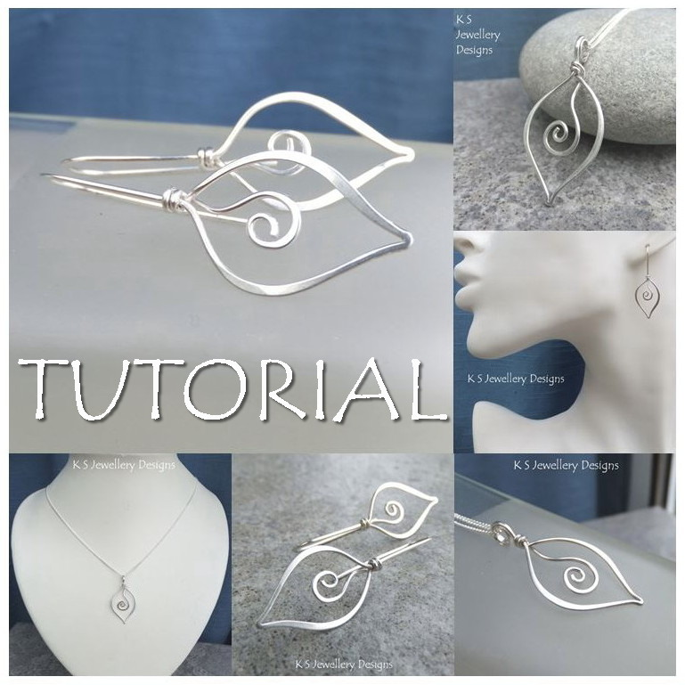 SWIRL LEAVES - Wirework Jewellery Tutorial (e-mailed PDF download)