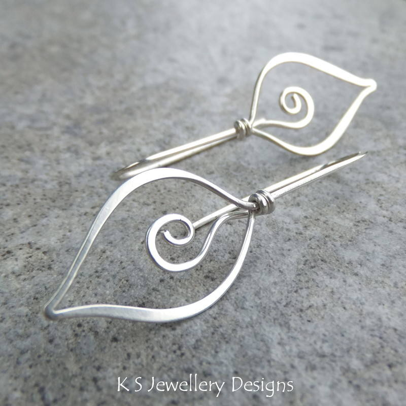 Swirl Leaf earrings 2