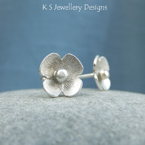 Sterling Silver Stud Earrings - Rustic Poppies