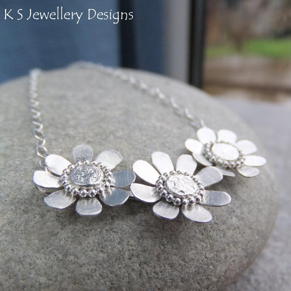 Daisy Trio Sterling Silver Necklace