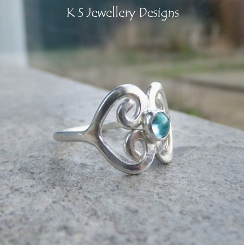 Apatite Double Heart Fine Silver Ring (UK size N / US size 6.5)