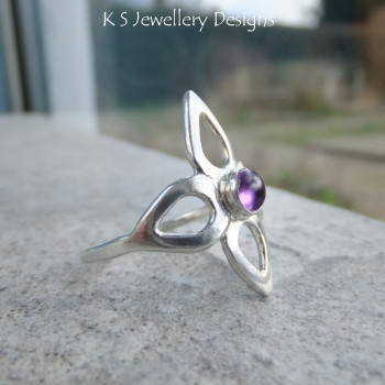 Amethyst Flower  Fine Silver Ring (UK size O / US size 7.25)
