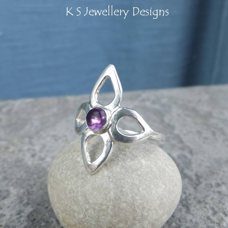 Amethyst Wraparound Flower Ring 5