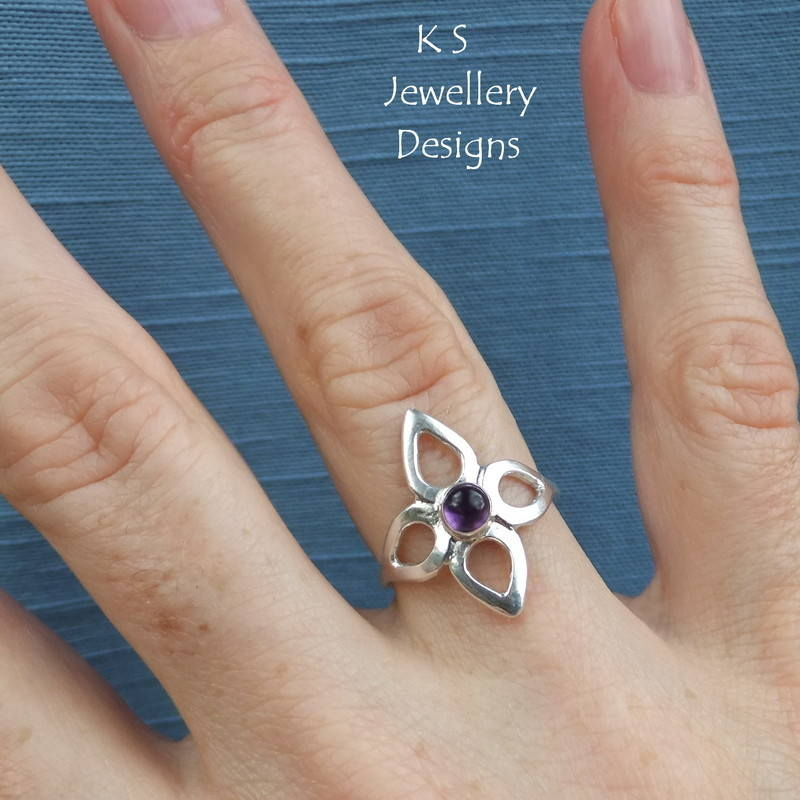 Amethyst Wraparound Flower Ring 2